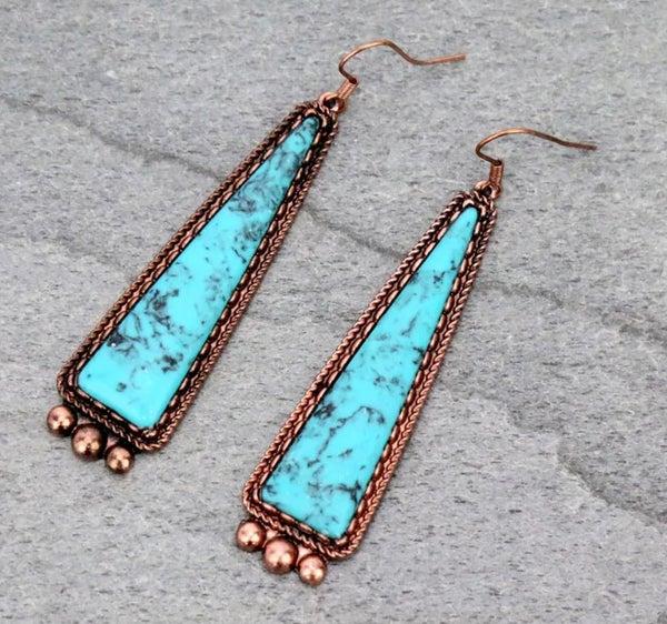 Turquoise & Copper Long Stone Earrings