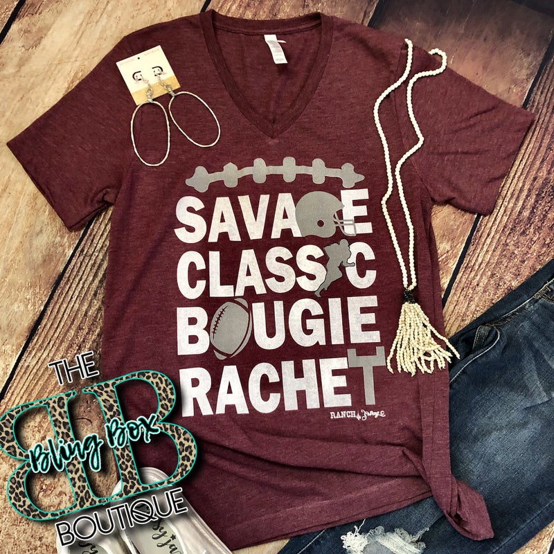 Savage Classic Bougie Rachet Maroon Football Tee