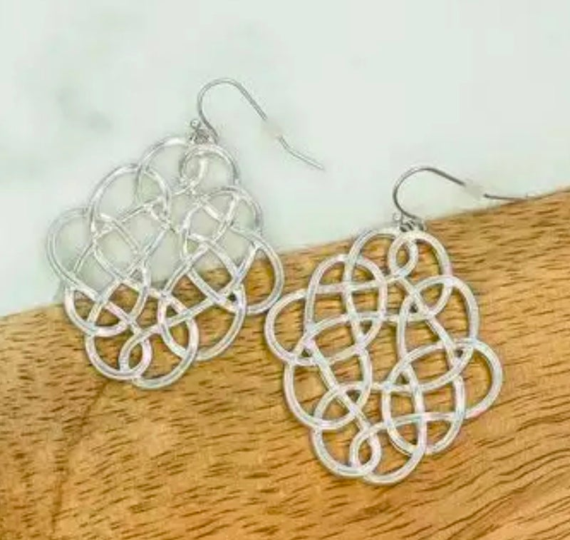 Silver Infinity Design Earrings
