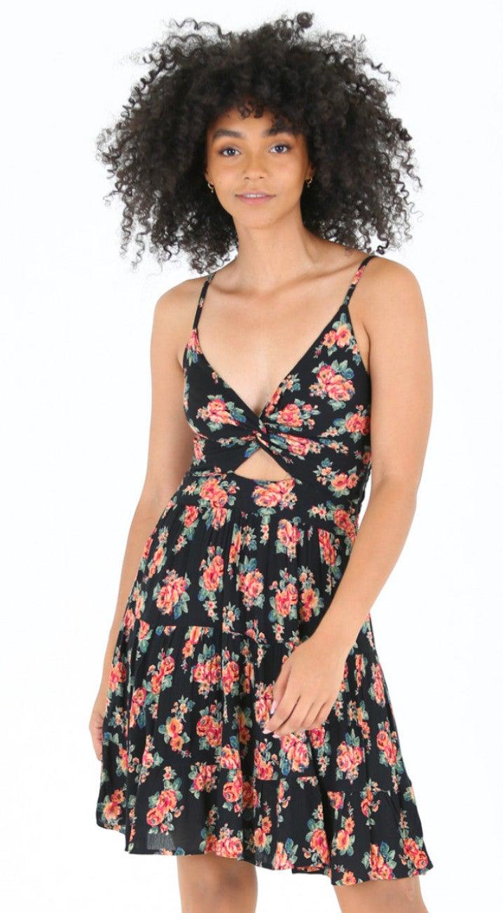 Spaghetti Strap Black Floral Print Sun Dress