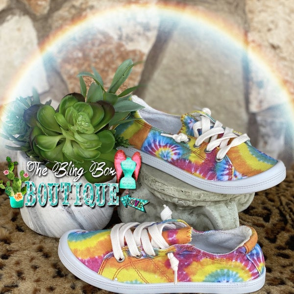 Tie Dye Lace Up Slip On Tennis Shoes