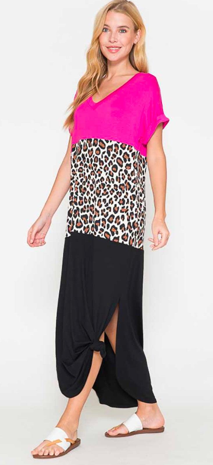 Leopard & Pink Color Block Maxi Dress