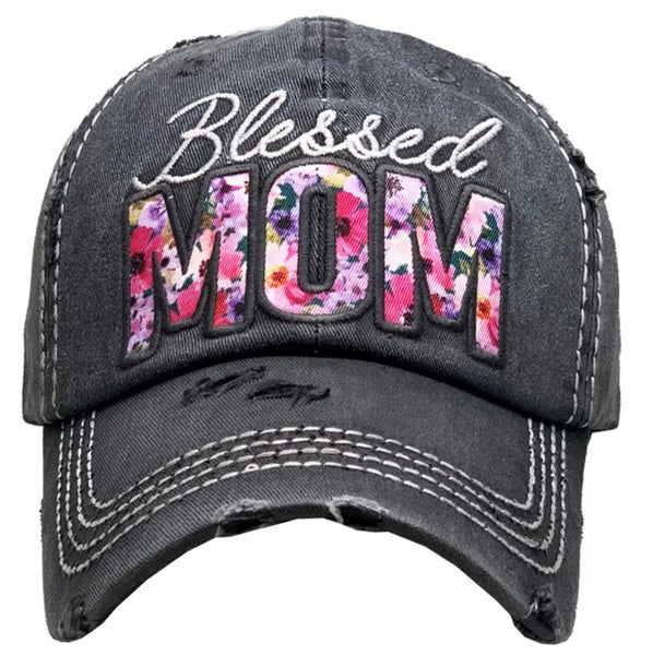 Blessed Mom Floral Embroidered  Charcoal Hat