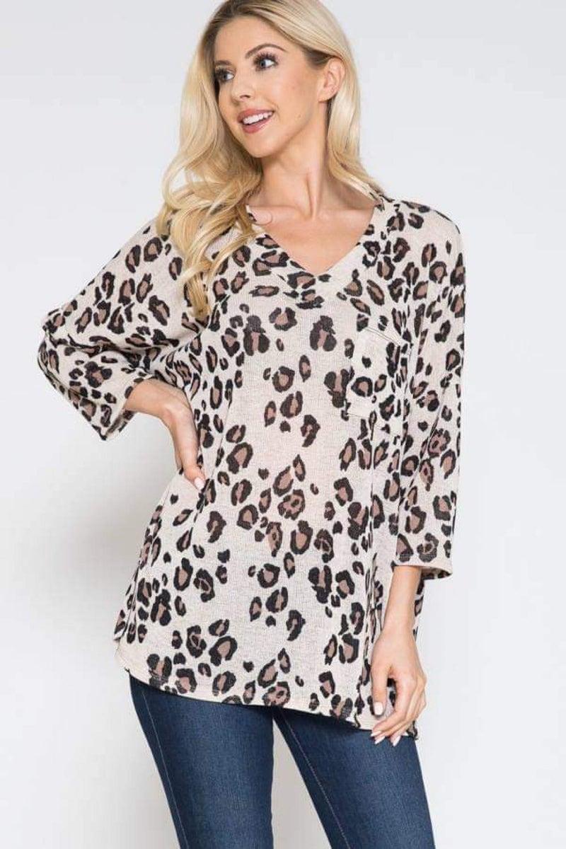 Oatmeal Leopard Print 3/4 Sleeve Top