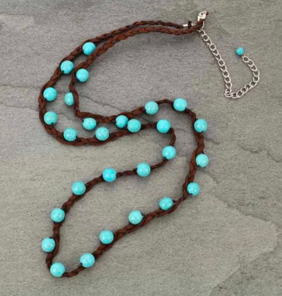 """34"""" Turquoise Beaded Dark Brown Leather Braided Necklace"""