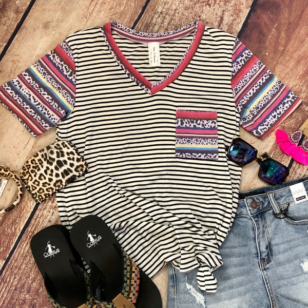 Black and White Striped Serape Rainbow Sleeve Top