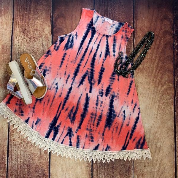 Crochet Detail Tie Dye Print Dress
