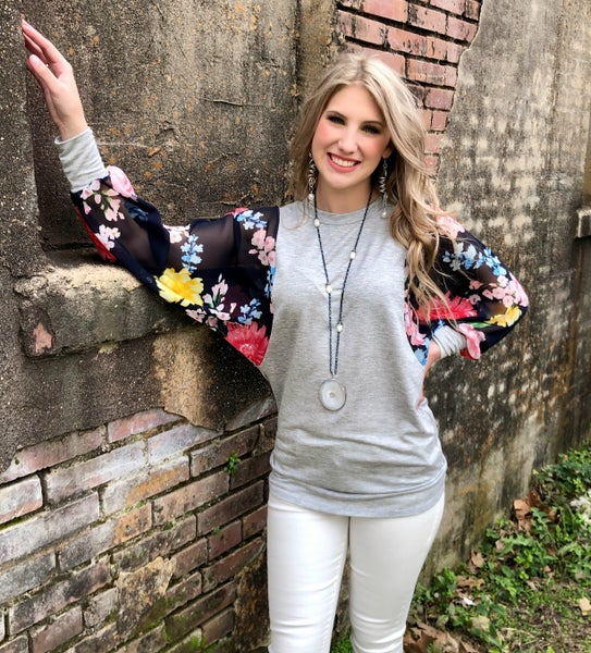 Navy Floral Sheer Sleeve Grey Tunic Blouse