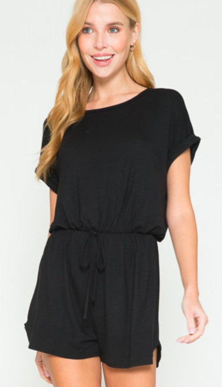 Black Short Sleeve Summer Vibes Romper