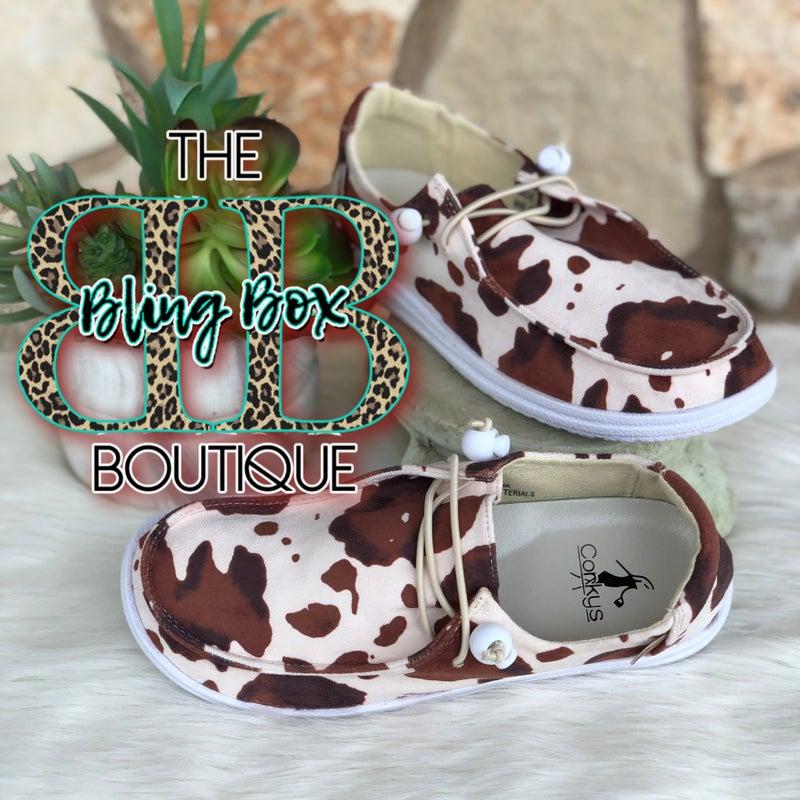 Corkys Kayak Brown Cow Print Slip On Tennis Shoes