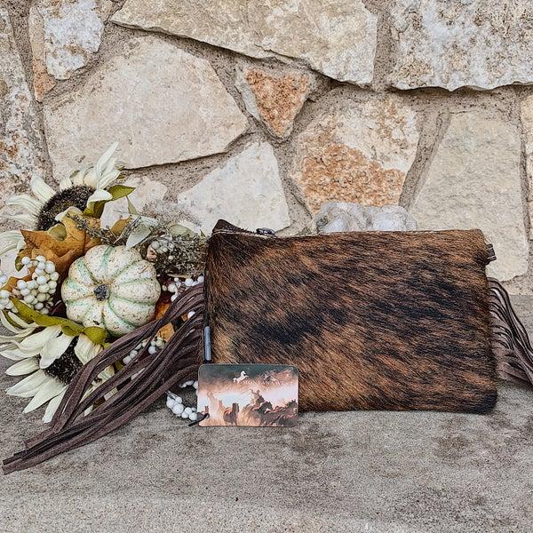 Brown Cowhide Aztec Leather Fringe Crossbody Bag