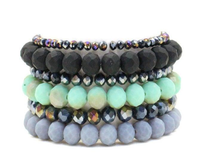 6-Piece Mint Matte Stretch Bracelet Set