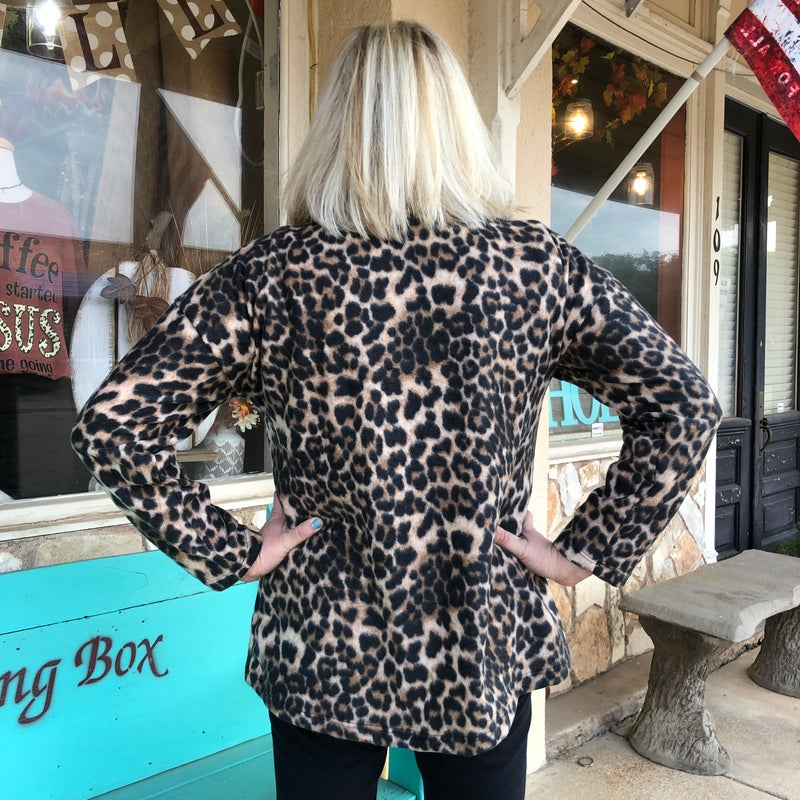Fleece Leopard Pullover with Red Plaid Pocket