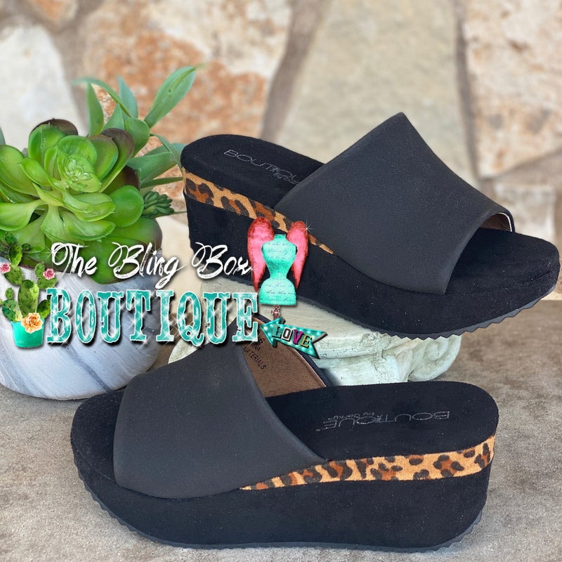 Corky's Tito Black Leopard Wedge Shoes