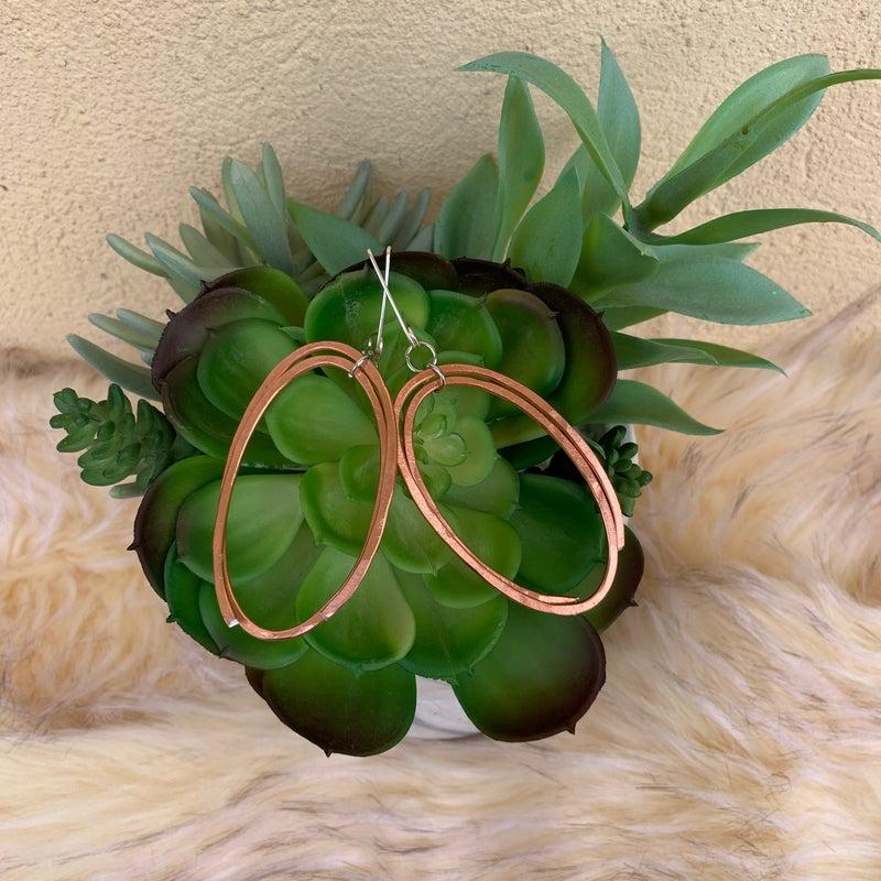 Bonnie Angela Double Oval Earrings - Rose Gold