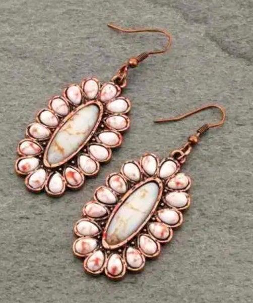 """Copper & Cream Stone Oval 1.75"""" Long Earrings"""