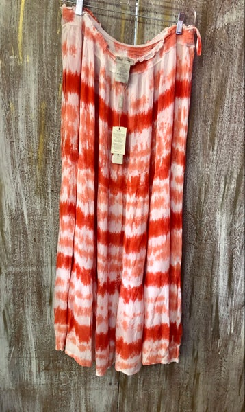 Coral & White Tie Dye Stretch Waist Skirt