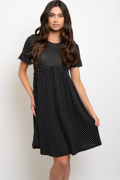 Black & White Polka Dot Babydoll Dress