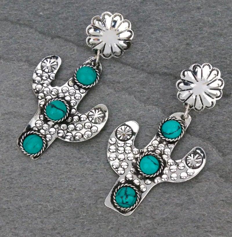 Silver Handmade Western Cactus Turquoise Stone Stud Earrings