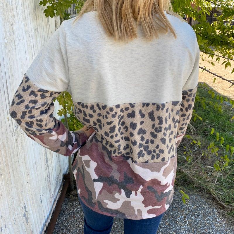 Burgundy Camo Leopard Color Block Top