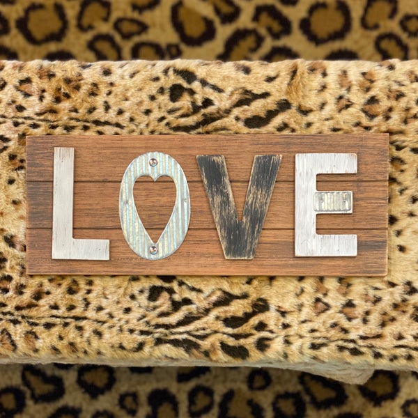 LOVE Wooden & Tin Home Decor Sign