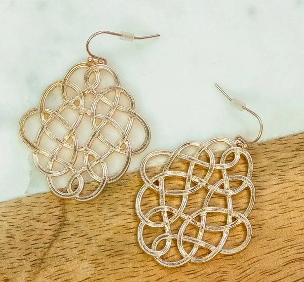 Rose Gold Infinity Design Earrings