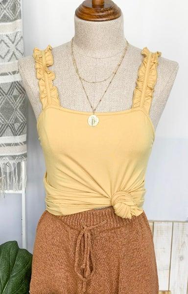 Mustard Double Ruffle Shoulder Strap Tank Knit Top