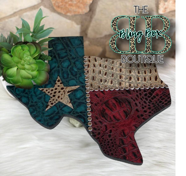 """15"""" Texas Flag Stamped Leather Custom Wall Decor"""