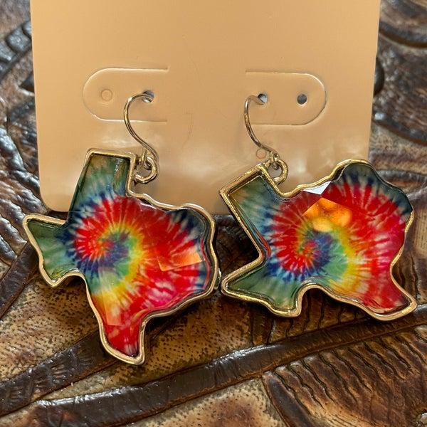 Texas Tie Dye Faceted Style Earrings