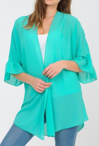 Mint Sheer Ruffle Sleeve Kimono