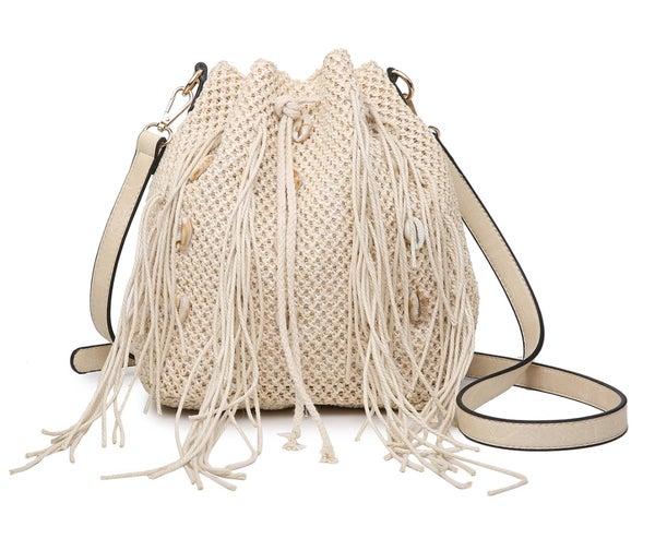 Shore Natural Bag w/ Shell and Fringe Trim