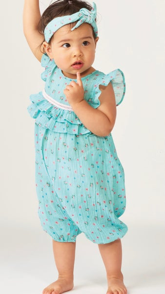 Baby Turquoise Floral Print Ruffle Sleeve Romper