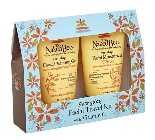 The Naked Bee Orange Blossom Honey Everyday Facial Travel Kit with Vitamin C SPF 30