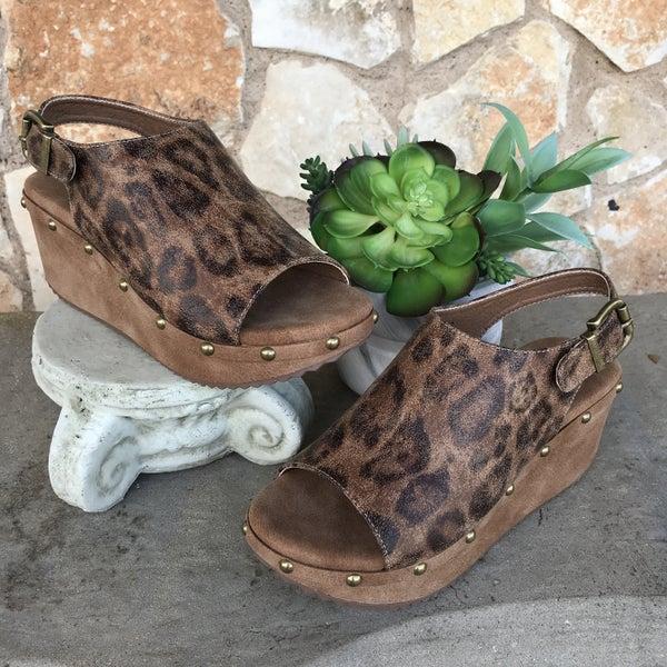 Westbrook Distressed Leopard Wedge Sandal