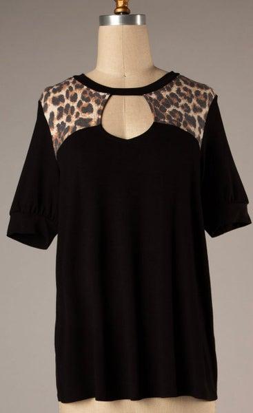 Leopard & Black Print Keyhole Short Sleeve Top