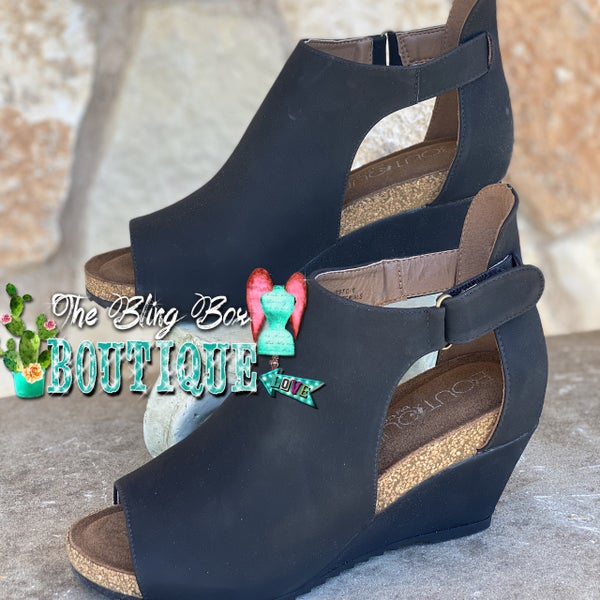 Corkys Black Sunburst II Wedge Shoes