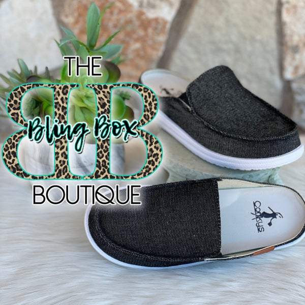 Corkys Black Pontoon Slip on Tennis Shoes