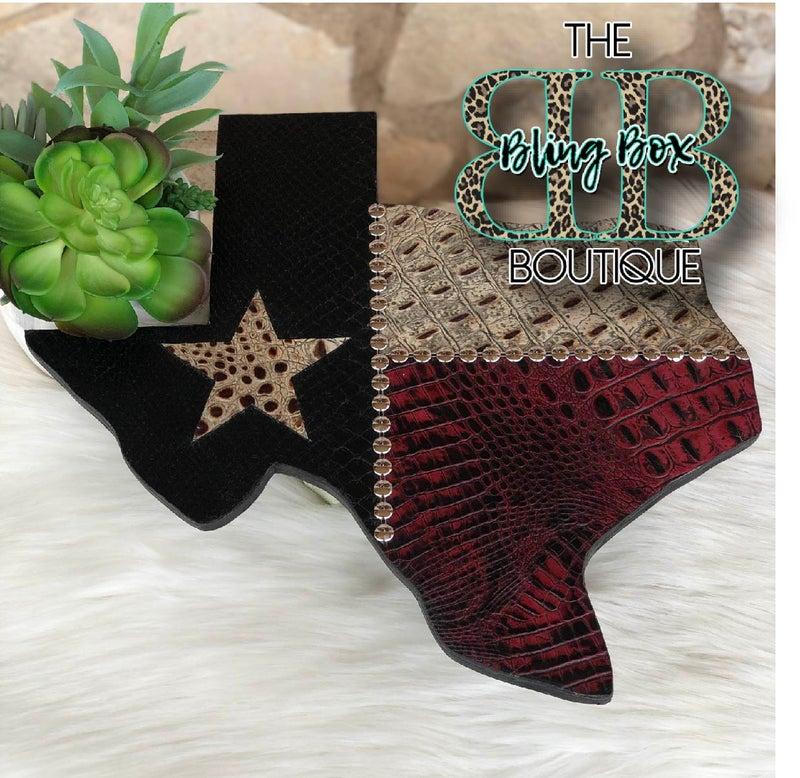 "15"" Texas Flag Stamped Leather Custom Wall Decor v2"