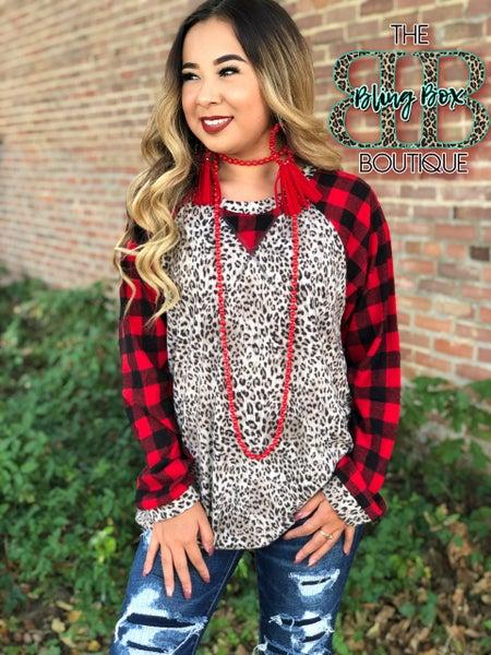 Christmas Cozy Leopard & Plaid Long Sleeve Top