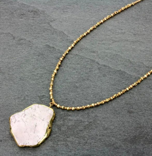 """32"""" Gold Dipped White Howlite Stone Slab Necklace"""