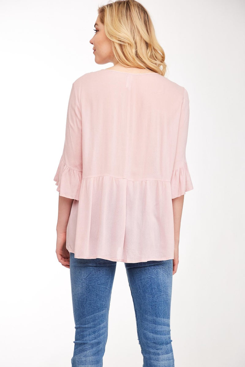 Dusty Pink Embroidered Peasant Top