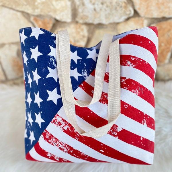 American Flag Canvas Tote Bag
