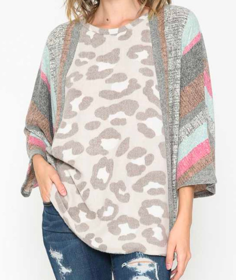 Pink Striped Leopard Soft Dolman Top