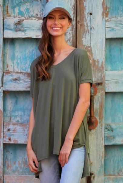 Olive V-Neck Short Sleeve Top