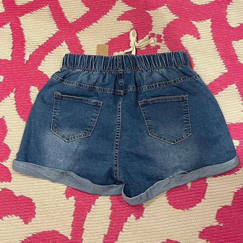 Denim Distressed Rolled Drawstring Stretch Waist Shorts