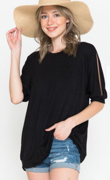 Black Solid Slit Sleeve Top