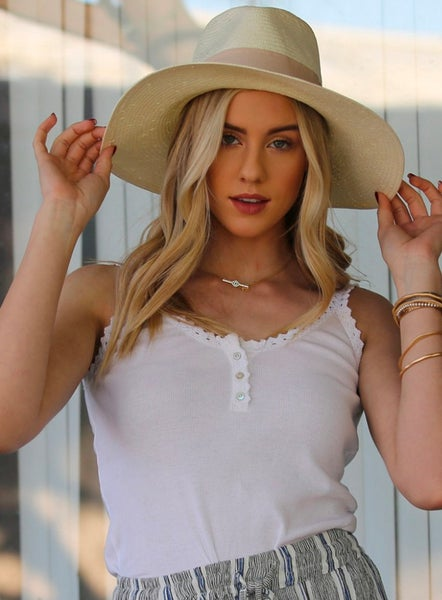 White Lace Trim Rib Knit Tank with Buttons