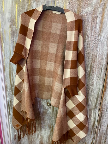 ONE SIZE - Plaid Sleeved Wrap
