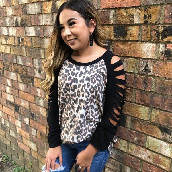Leopard Black Slit Long Sleeve Top