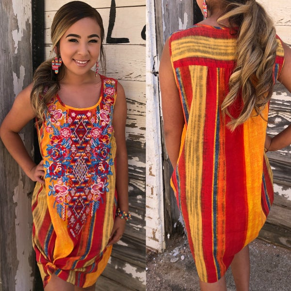 Savanna Jane Red Multi Embroidered Dress